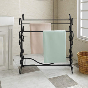 HOMERECOMMEND Free Standing Towel Rack 3 Bars Drying Rack Metal Organizer for Bath Hand Towels Outdoor Beach Towels Washcloths Laundry Rooms Balconies Bathroom Accessories