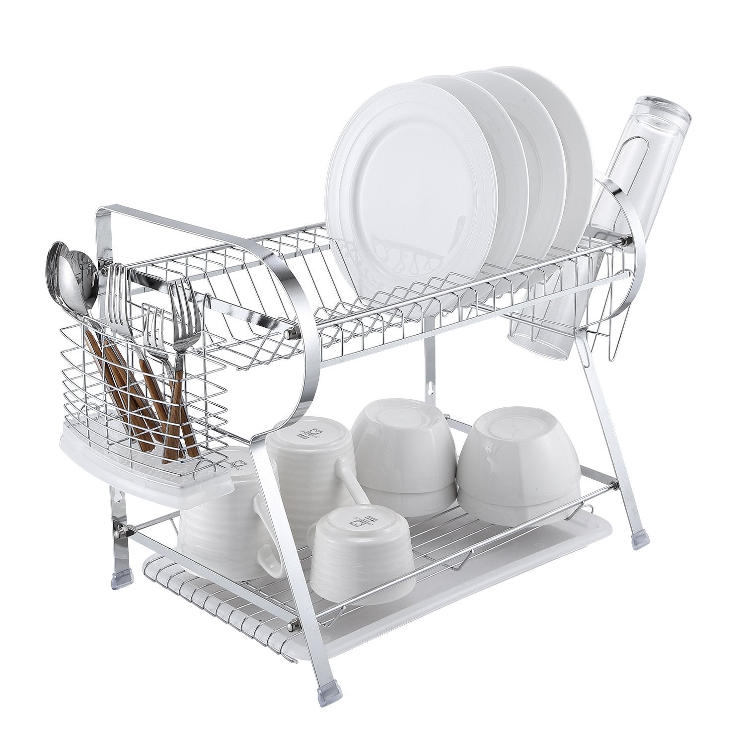 2 Tier Dish Drying Rack Kitchen Organizer with Drain Board, Chrome Finished Steel, Naturous
