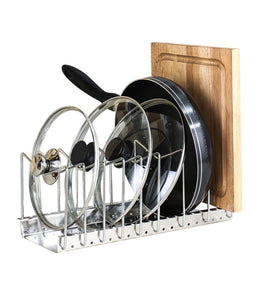 Fecihor Stainless Steel Pan and Pot Lid Cookware Rack Holder - Adjustable Bakeware Cookware Kitchen Cabinet Pantry Drying Rack and Countertop Cookware Organizer Holders, Silver