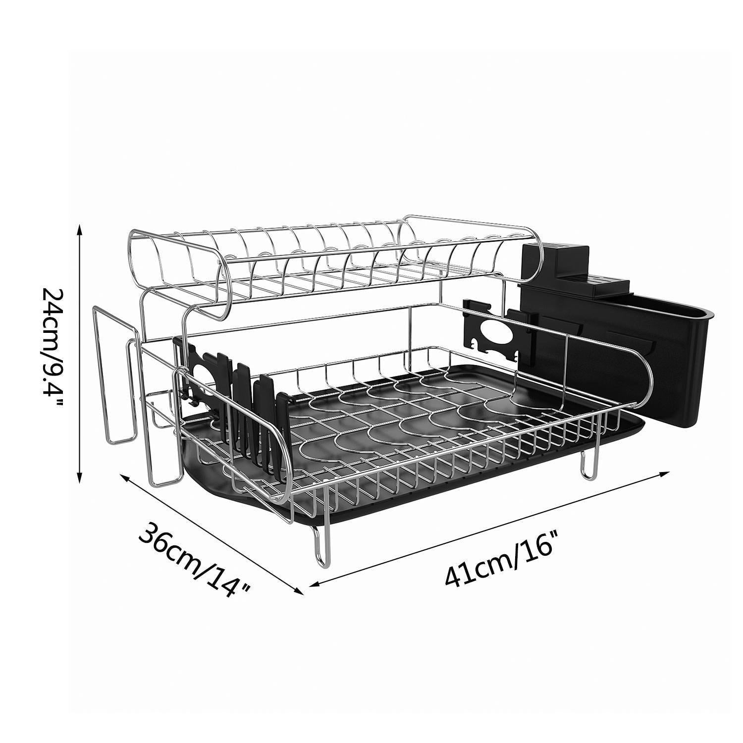 Professional Dish Drying Rack, 2 Tier 304 Stainless Steel Dish Rack with Drainboard, Microfiber Mat Kitchen Utensil Holder