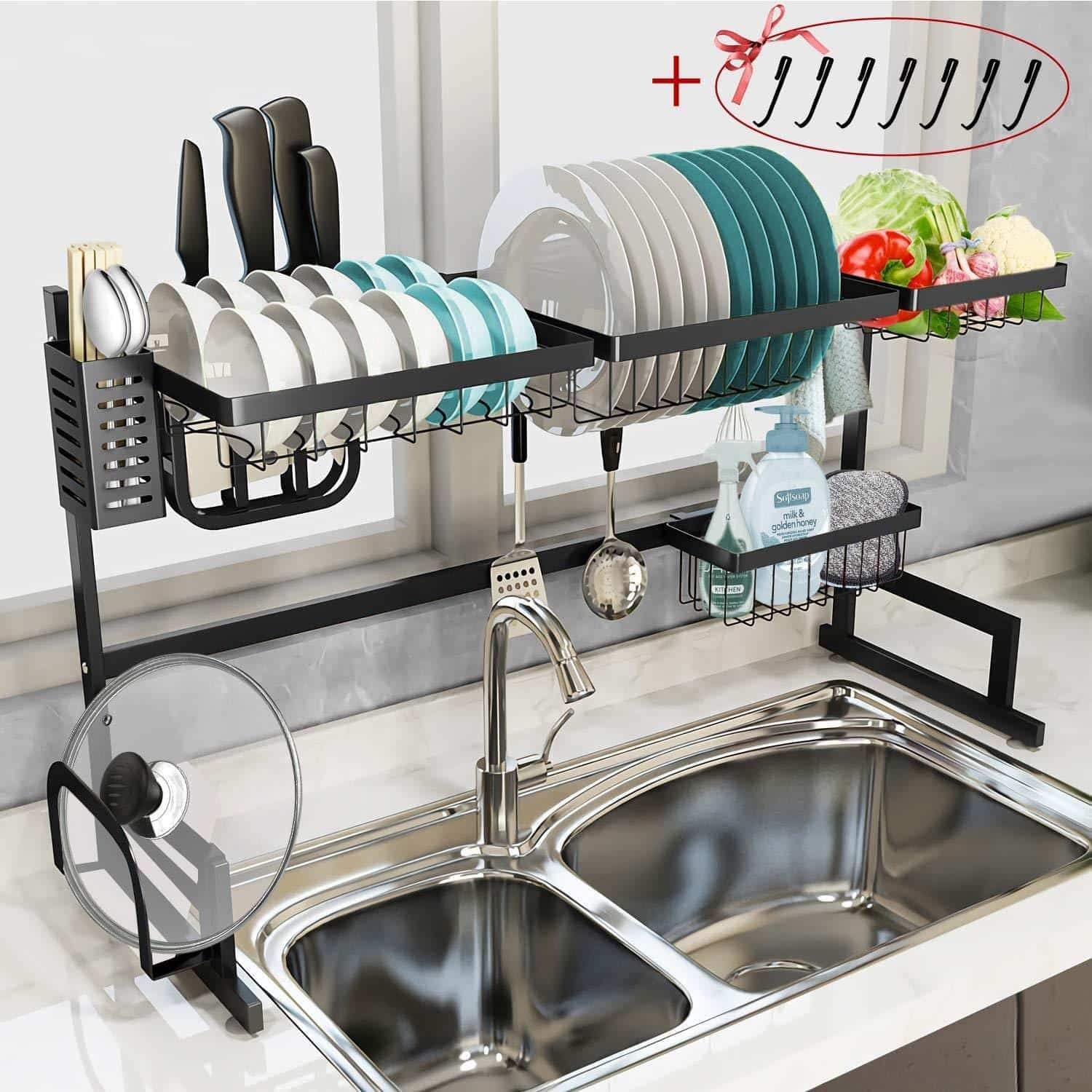 Dish Drying Rack Over the Sink - Tsmine Large Dish Drainers for Kitchen Counter,Stainless Steel Drain Bowl Dish Rack Kitchen Supplies Storage Shelf Utensils Holder with 7 Utility Holder Hooks