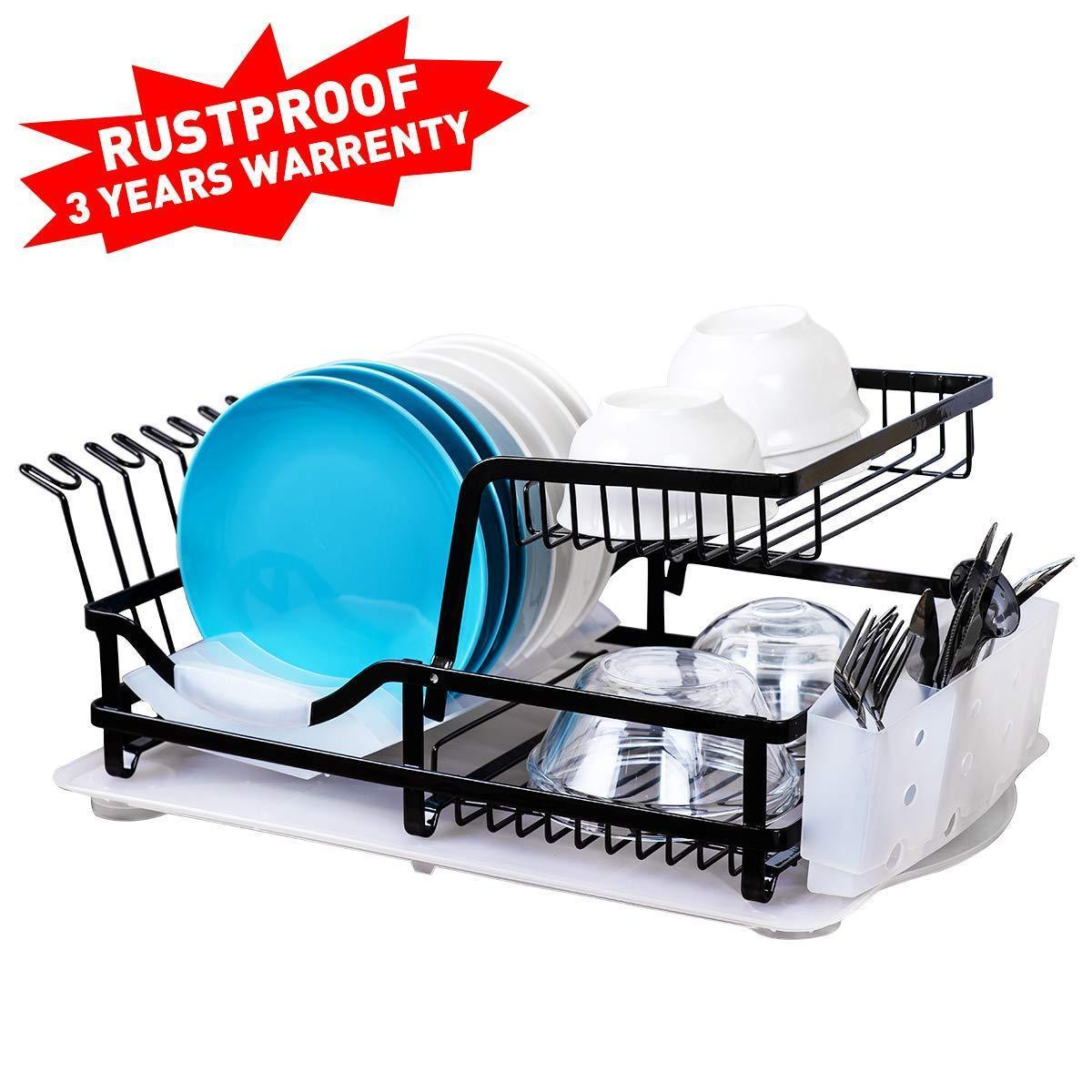 2-Tier Dish Rack, Dish Drying Rack with Utensil Holder and Drain Board Wine Glass Holder Easy-Storage Rustproof Kitchen Counter Dish Drainer Rack Organizer, Iron