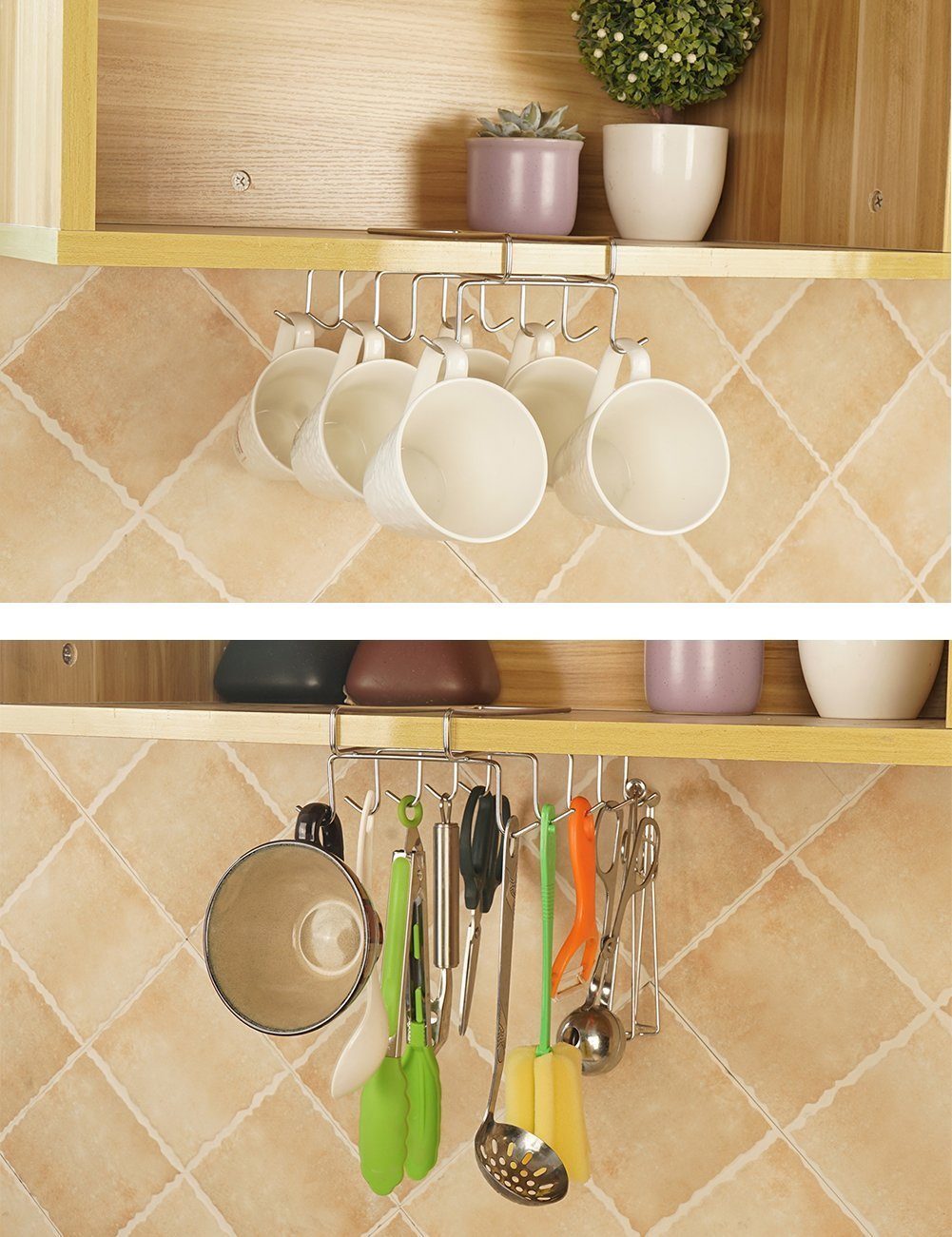 "Bafvt Coffee Mug Holder - 304 Stainless Steel Cup Rack Under Cabinet, 10Hooks, Fit for the Cabinet 0.8"" or Less"
