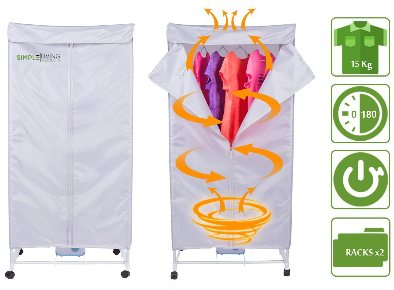 15KG Compact Electric Portable Clothing Dryer - Portable Clothes Dryer Rack Dries Clothing in 30 Minutes. Saves Time, Money and Space. Dries Everything. Use it Anywhere.