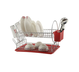2 Tier Dish Drainer Drying Rack with Utensil Holder and Drain Board