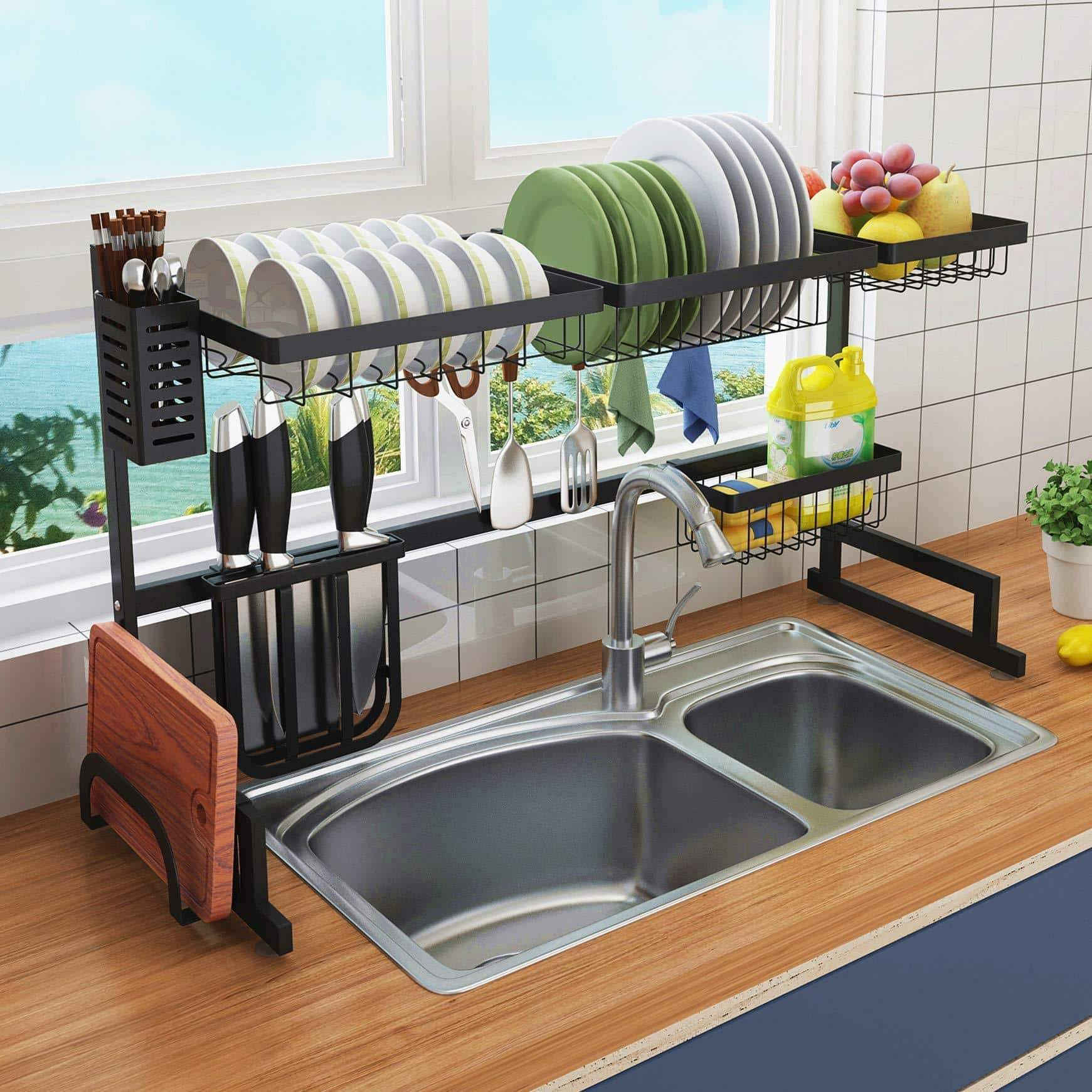Over the Sink Dish Drying Rack - 2 Tier Large 18/8 Stainless Steel Drainer Display Shelf,Kitchen Supplies Storage Accessories Countertop Space Saver Stand Tableware Organizer with Utensil Holder