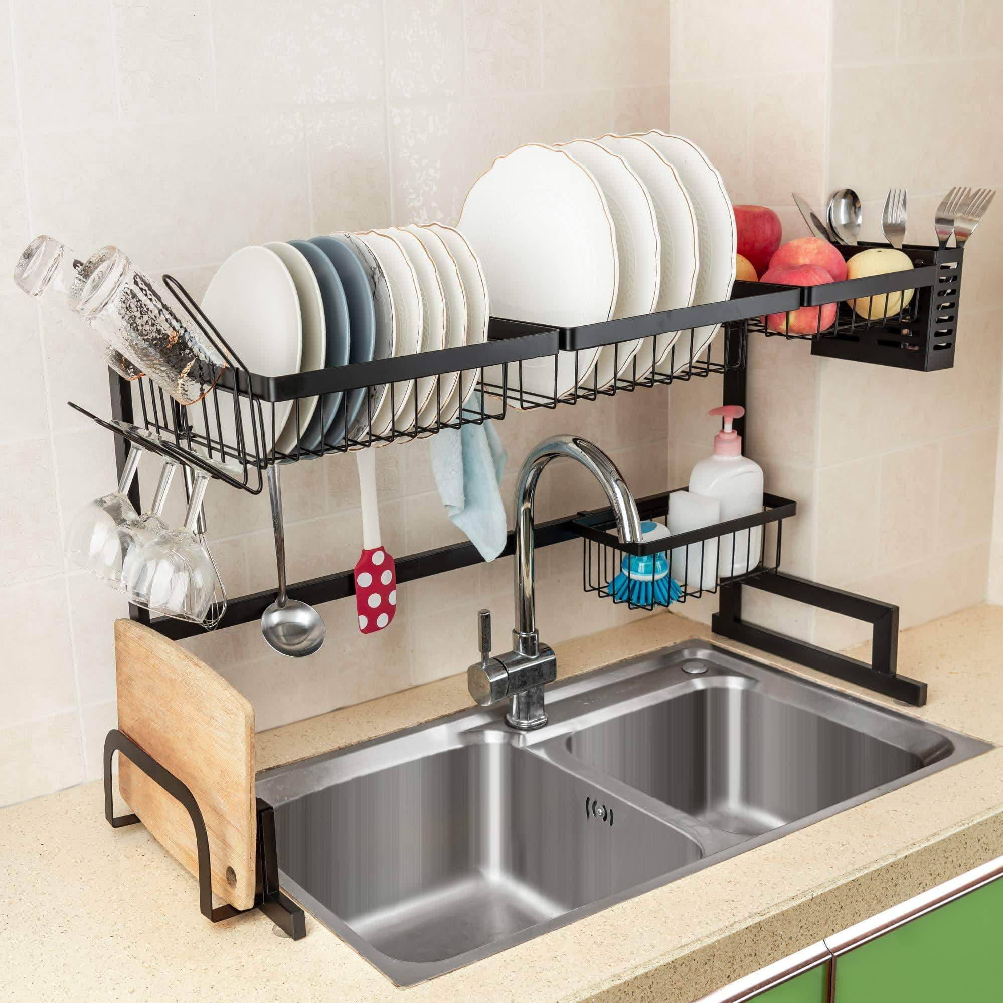 iPEGTOP Over the Sink Stainless Steel Dish Drying Rack - Large Dish Drainers for Kitchen Double Sink, Dishes Utensils Glasses Draining Shelf Storage Counter Organizer Cutlery Holder, Black