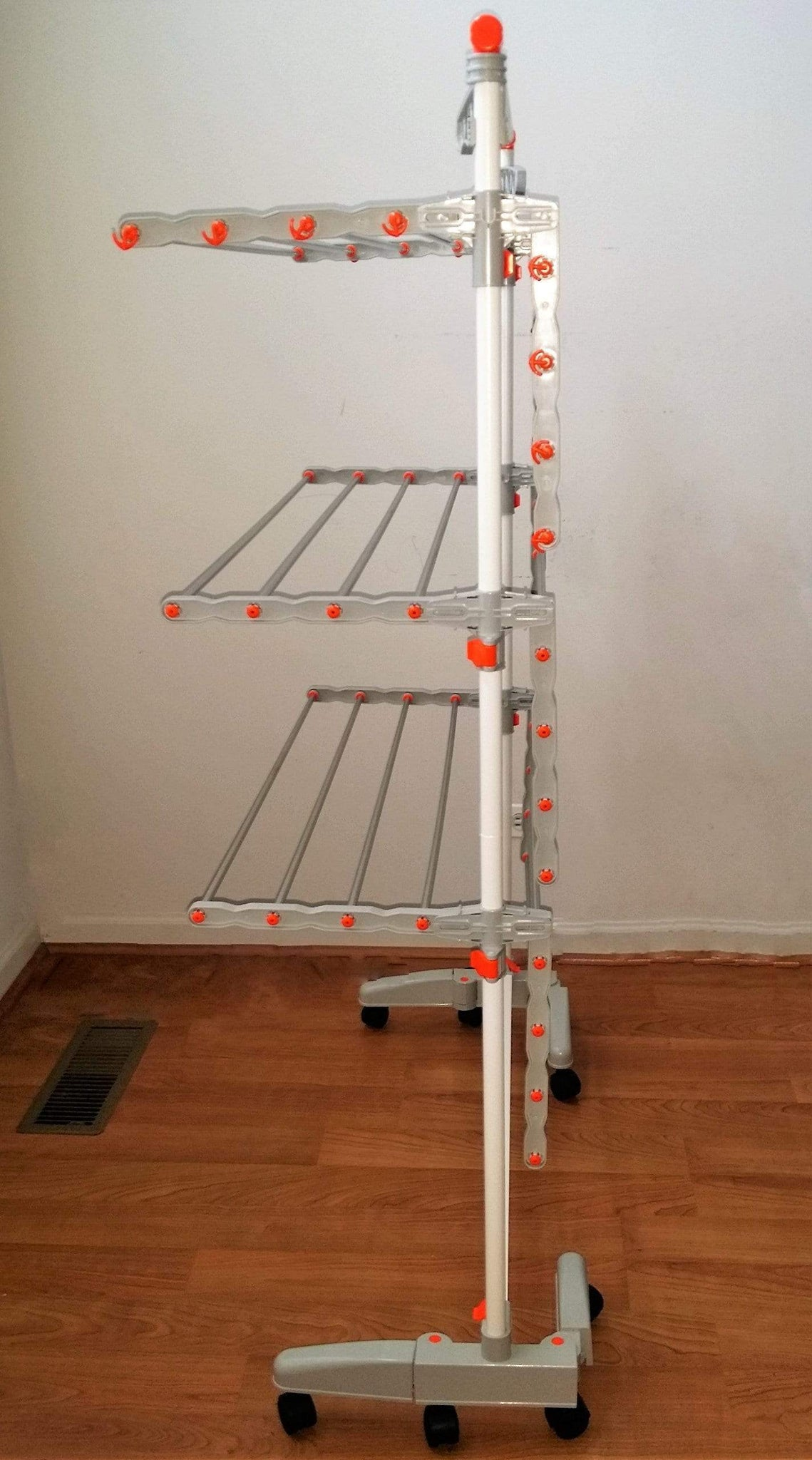 idee BDP-V23 Foldable Rolling 3-tier Clothes Laundry Drying Rack with Stainless Steel Hanging Rods, Collapsible Shelves and Base for Easy Storage, Made-in-Korea Premium Size Orange