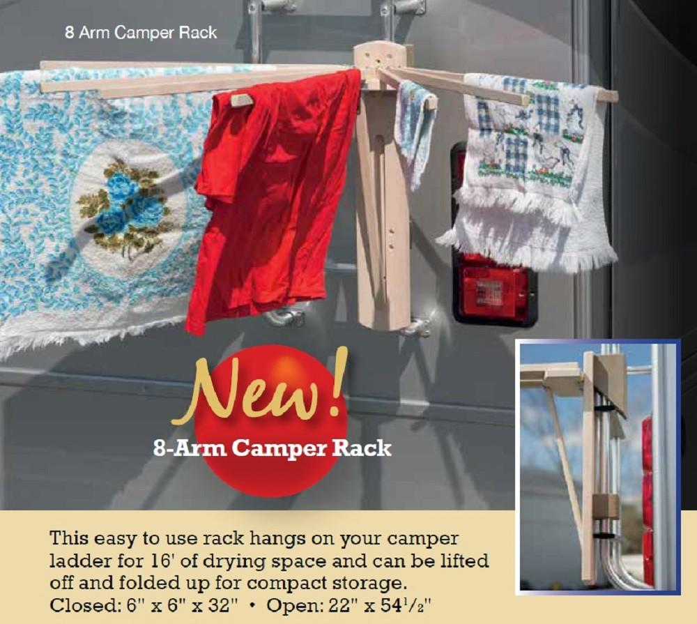 8 ARM CAMPER LAUNDRY DRYING RACK - Amish Handmade Camping Clothes Hanger