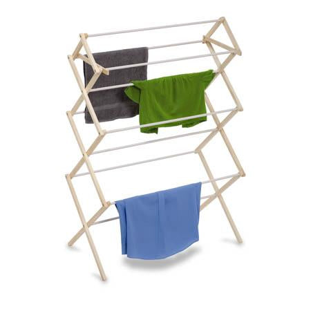 Heavy-Duty Collapsible Clothes Drying Rack, White/Natural