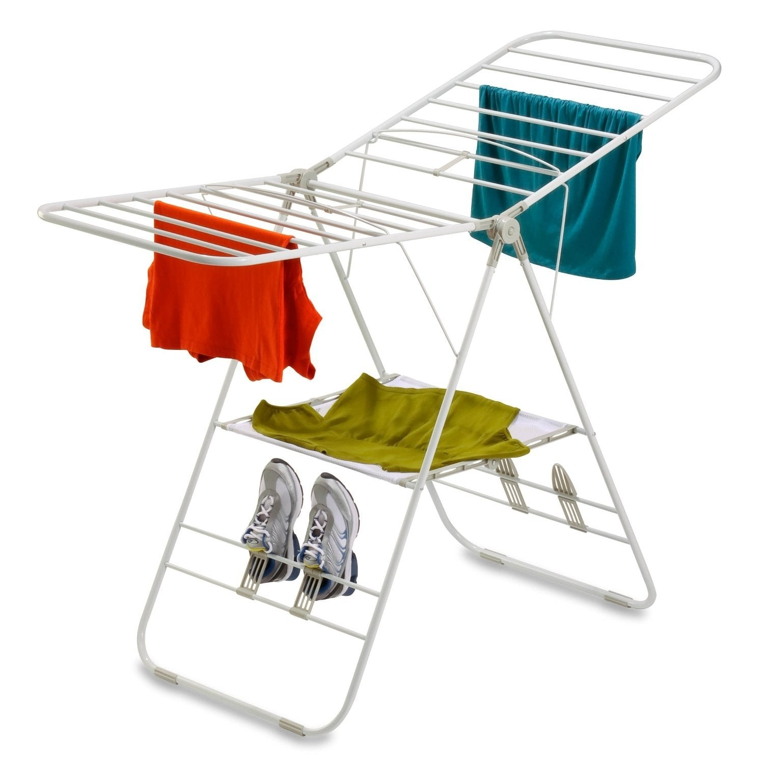 Heavy Duty Metal Folding Laundry Drying Rack with Shoe Holders in White