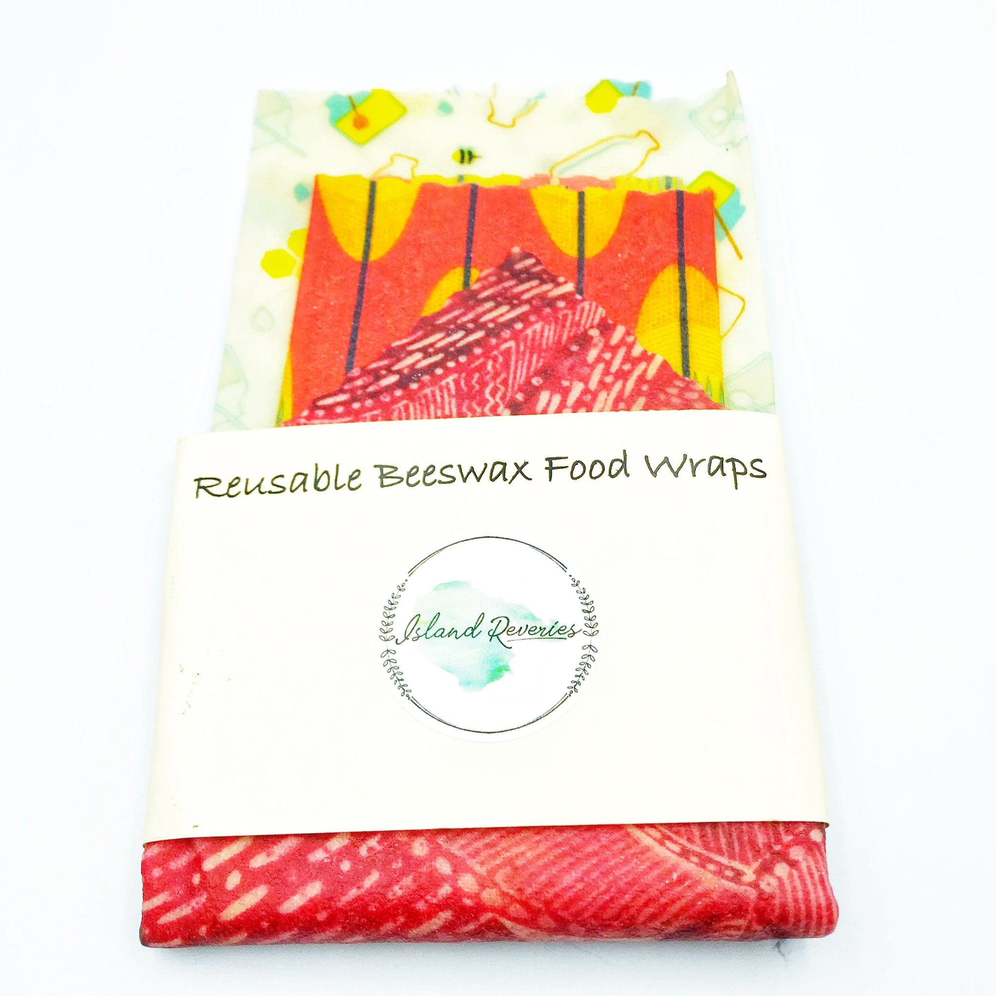 Island Reveries Reusable Beeswax Food Wraps, Cream, Red and Orange
