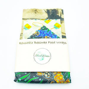 Island Reveries Reusable Beeswax Food Wraps, Cream, Black and Blues