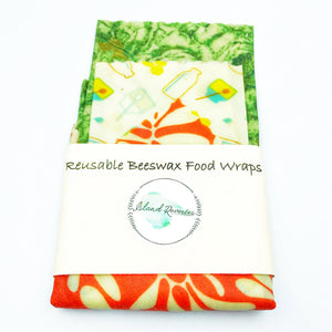 Island Reveries Reusable Beeswax Food Wraps, Green, Cream and Coral