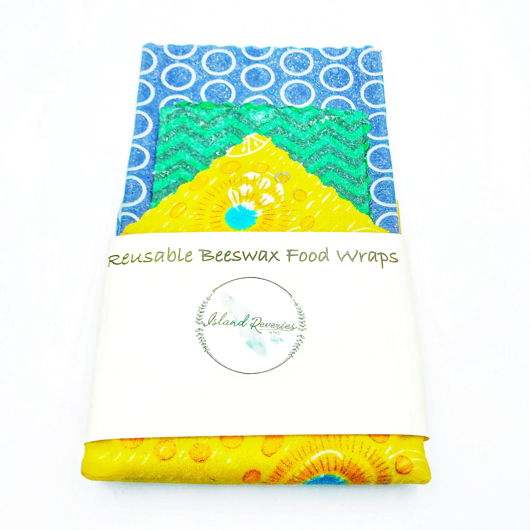 Island Reveries Reusable Beeswax Food Wraps, Blue, Green, Yellow