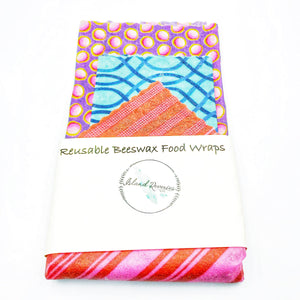 Island Reveries Reusable Beeswax Food Wraps ,Purple, Blue, Red