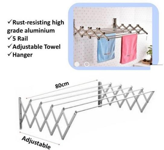 Retractable Clothes Drying Rack 5x100CMS
