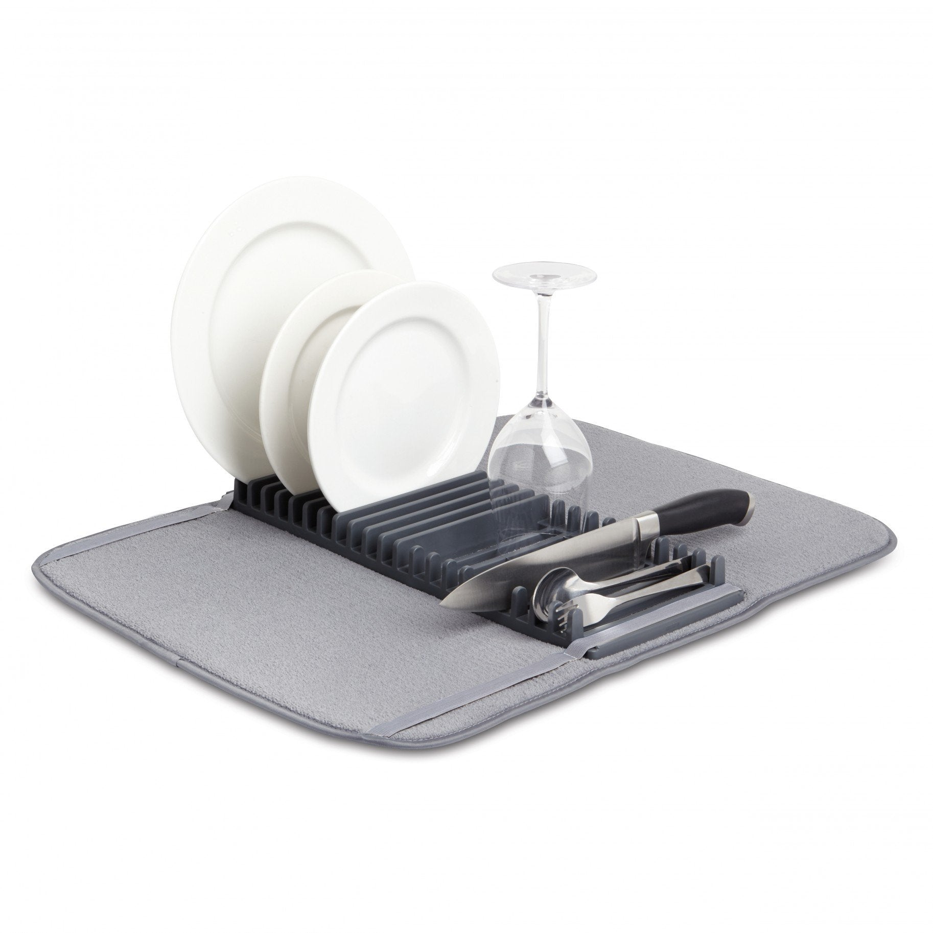 UDry Drying Dish Rack with Mat - Charcoal