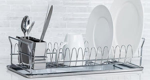 Diamond Metal Dish Drying Rack For Home Use with Cutlery Holder
