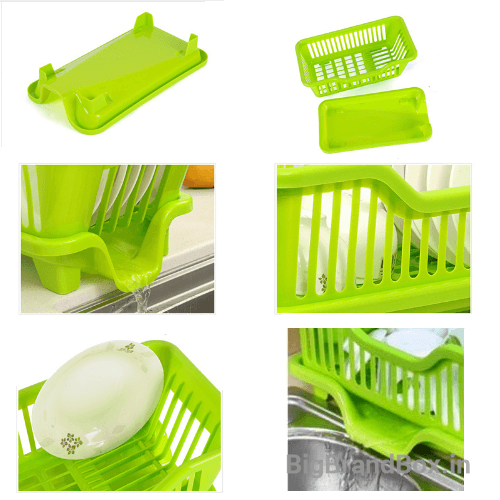 2 Pcs Set Kitchen Sink Dish Drying Rack [ 1 Dish Rack & 1 Draining Tray ]