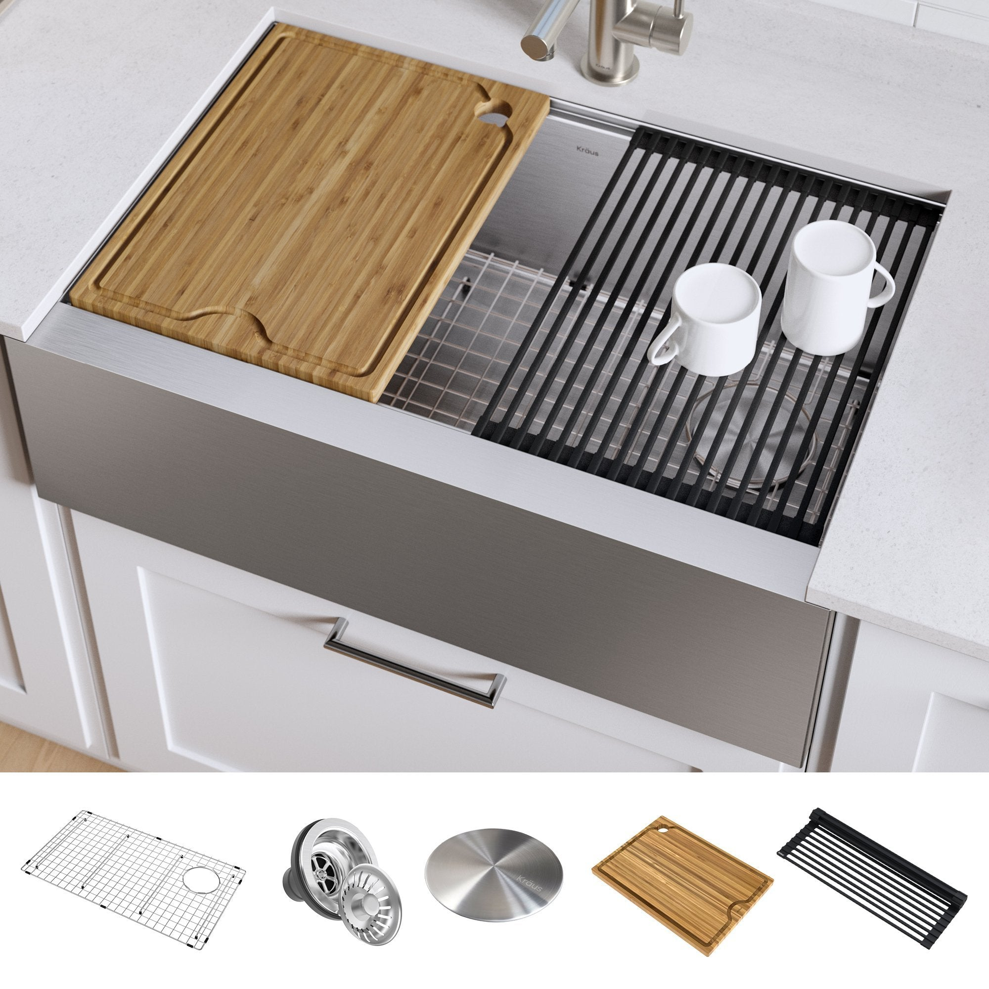 KRAUS Kore™ Workstation 33-inch Farmhouse Flat Apron Front 16 Gauge Single Bowl Stainless Steel Kitchen Sink with Accessories-Kitchen Sinks-DirectSinks-Fast and free shipping