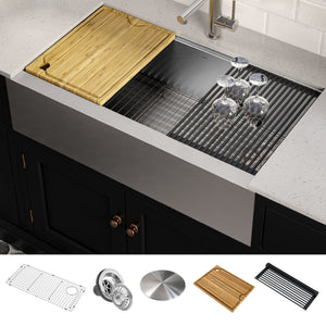 KRAUS Kore™ Workstation 36-inch Farmhouse Flat Apron Front 16 Gauge Single Bowl Stainless Steel Kitchen Sink with Accessories-Kitchen Sinks-DirectSinks-Fast and free shipping