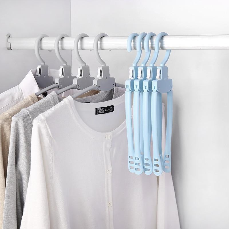 5Pcs/Lot Foldable Clothes Hanger Clothing Drying Rack Closet Hanging Hooks Organizer