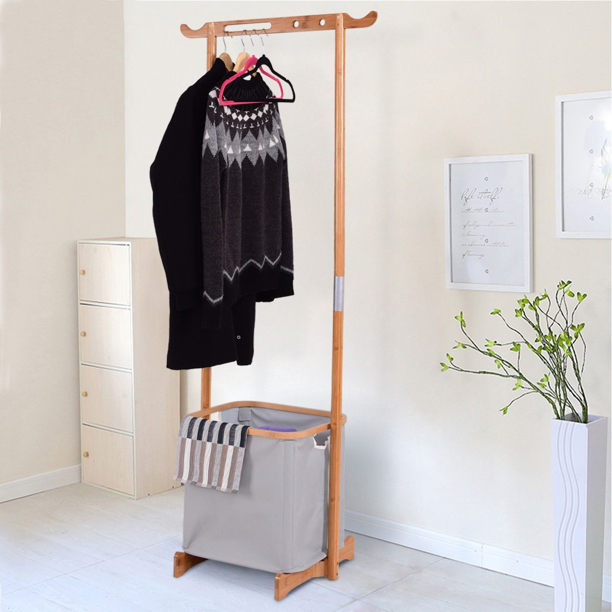 Bamboo Clothes Drying Rack Portable Laundry Hamper Garment Hanger Storage Clothing Organizer
