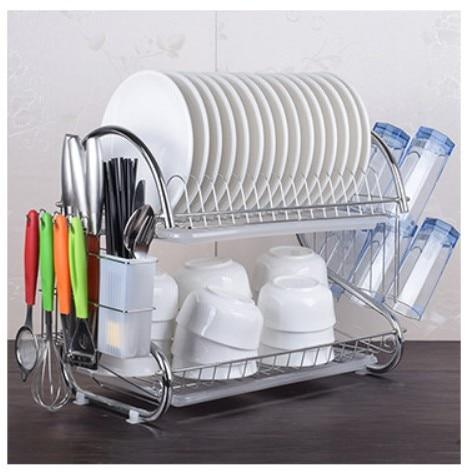 2-3 Tiers Dish Drying Rack Kitchen Washing Holder Basket Plated Iron Kitchen Knife Sink Dish Drainer Drying Rack Organizer B484