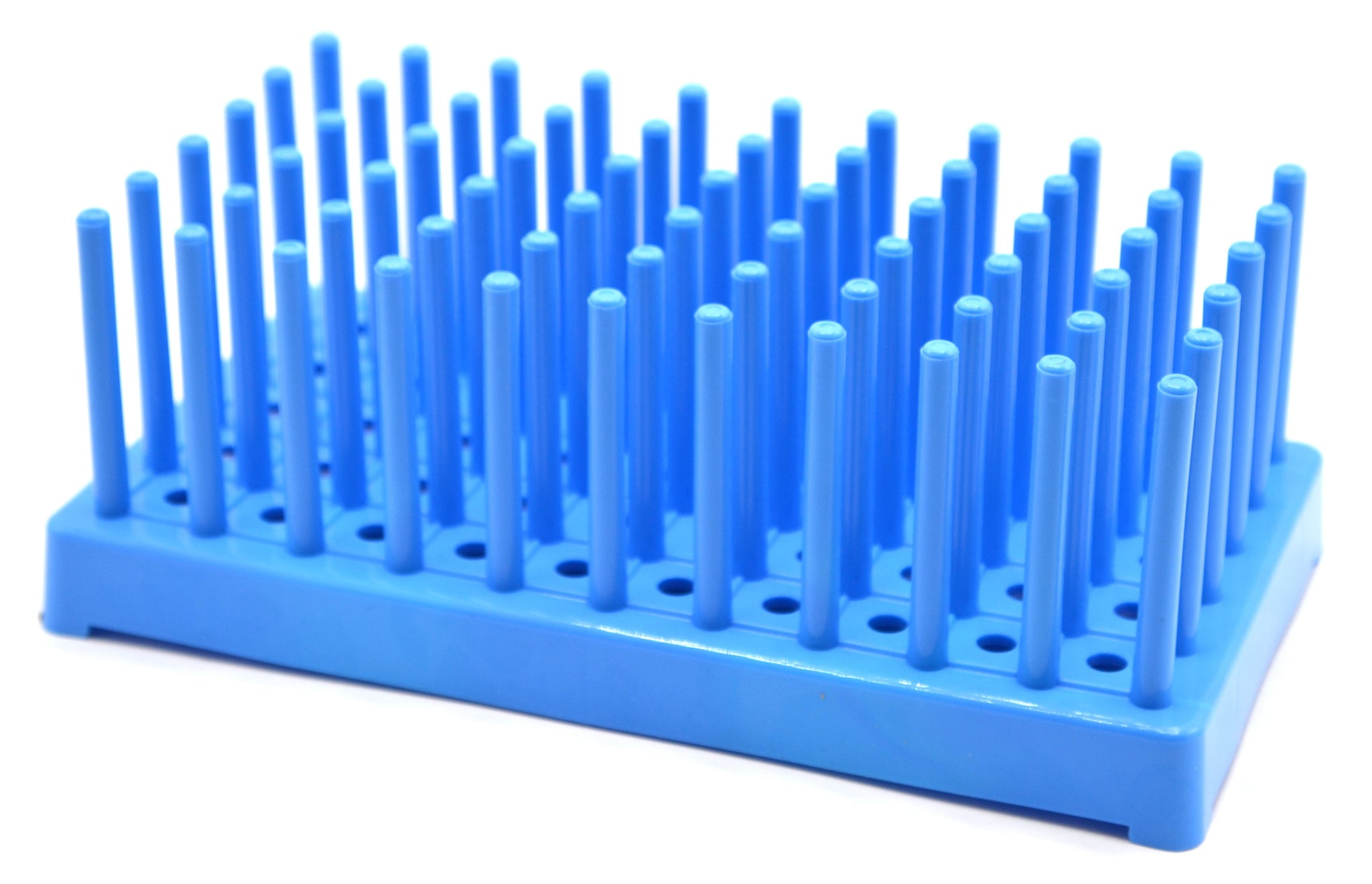 Blue Plastic Test Tube Peg Drying Rack Holds 50 16mm Test Tubes - Eisco Labs