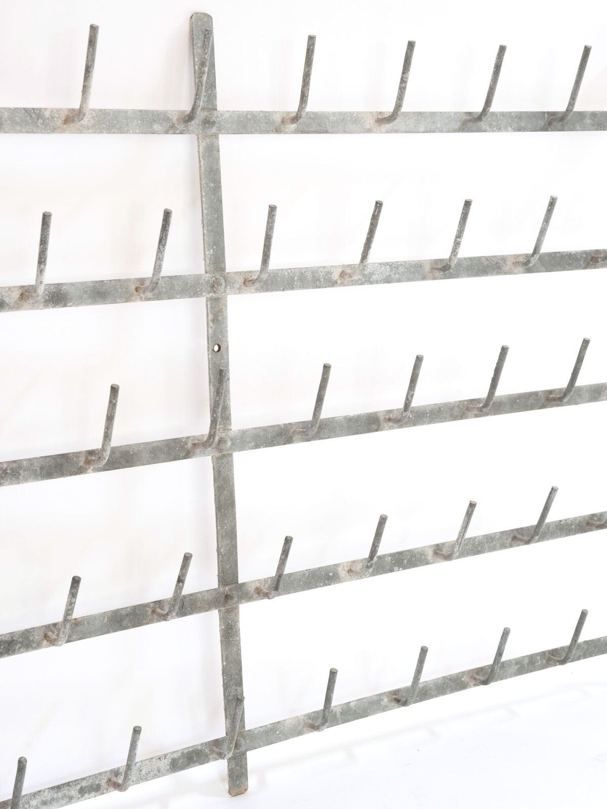 Vintage French Galvanised Zinc Bottle drying wall racks
