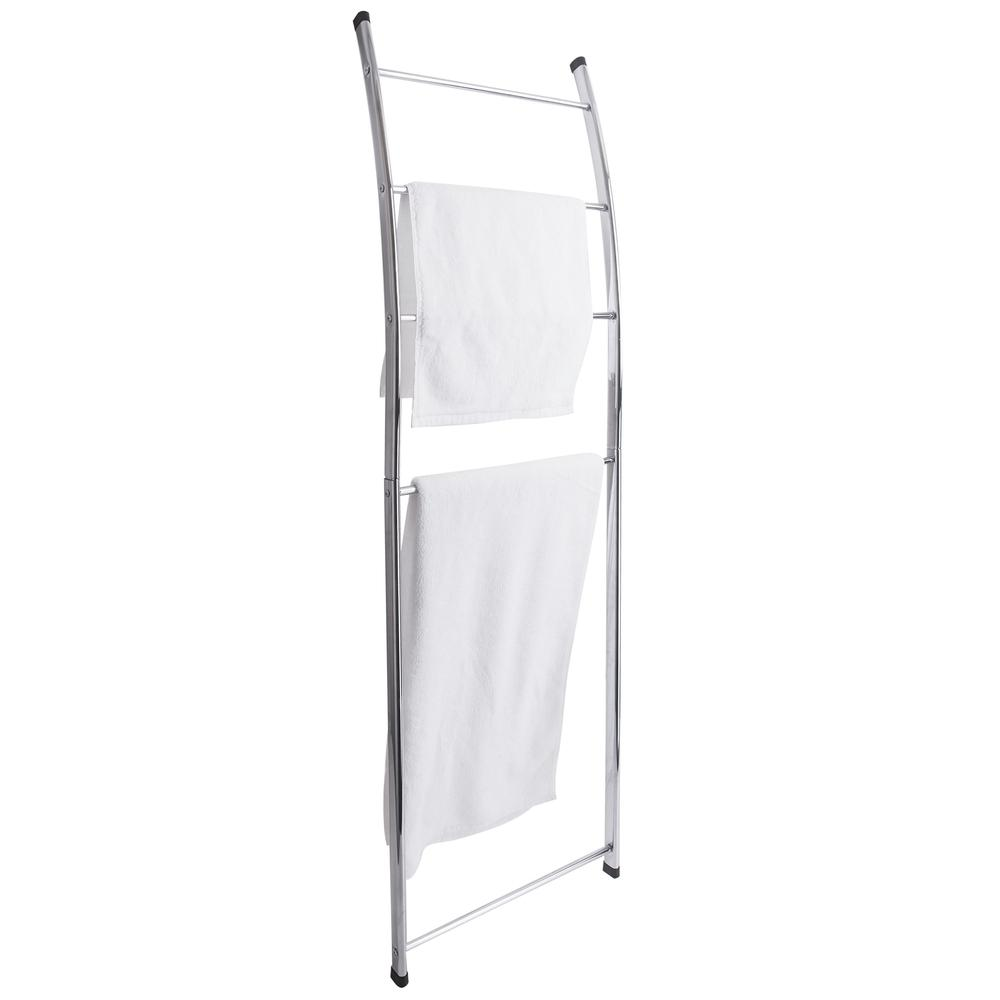4 Bar Chrome-Plated Bath Towel Ladder, Wall-Leaning Drying Rack Stand