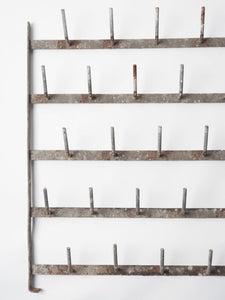 Antique French Galvanised Zinc Bottle Drying Wall rack