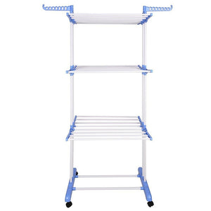 Yescom Laundry Folding Clothes Dryer Rack 3 Tiers w/ Casters White