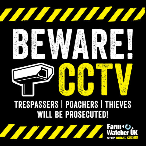 Beware CCTV warning sign suitable for farm gates, buildings etc.