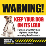 Keep your dog on a lead warning sign suitable for farm gates, buildings etc.