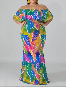 """Leafy Crayola"" Maxi Dress"