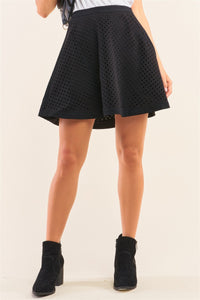 Black Laser Cut Scuba Skater A-line Mini Skirt - APPLES PEACHES PEARS