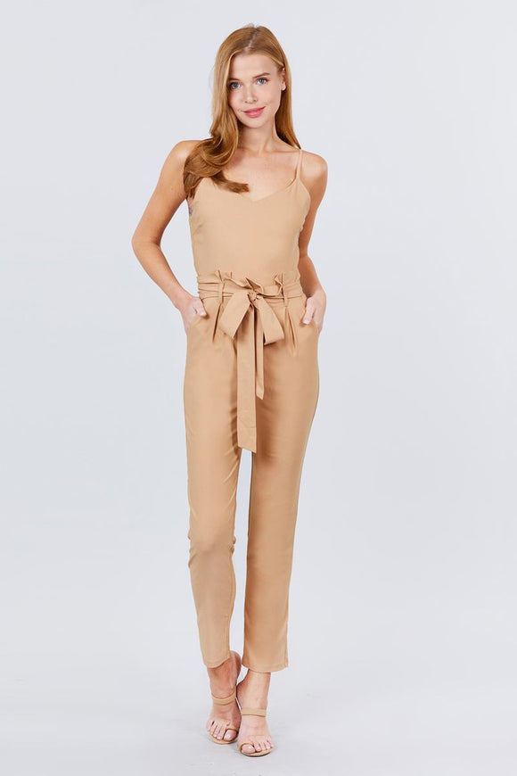 Cami Strap V-neck Belted Tie W/back Zipper Jumpsuit - APPLES PEACHES PEARS