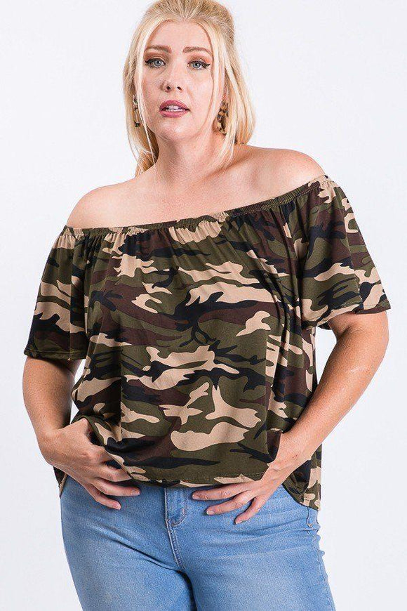 Camo Print Cool Off Shoulder Top - APPLES PEACHES PEARS