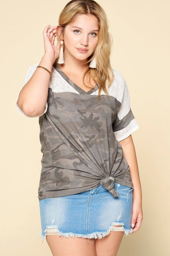 Camouflage Printed Loose-fit Knit Top - APPLES PEACHES PEARS