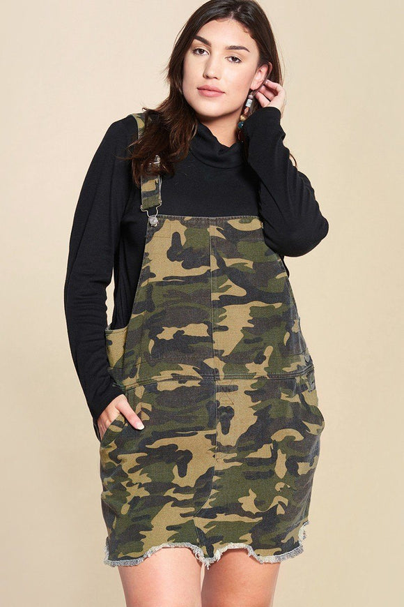 Camouflage Printed Overall Mini Dress Featuring Pockets And Frayed Hem - APPLES PEACHES PEARS