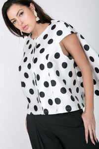 Cascade Ruffle Detail Polka Dot Print Top - APPLES PEACHES PEARS