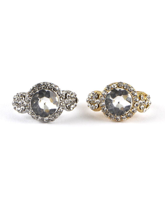 Crystal and Stone Studded Adjustable Ring - APPLES PEACHES PEARS