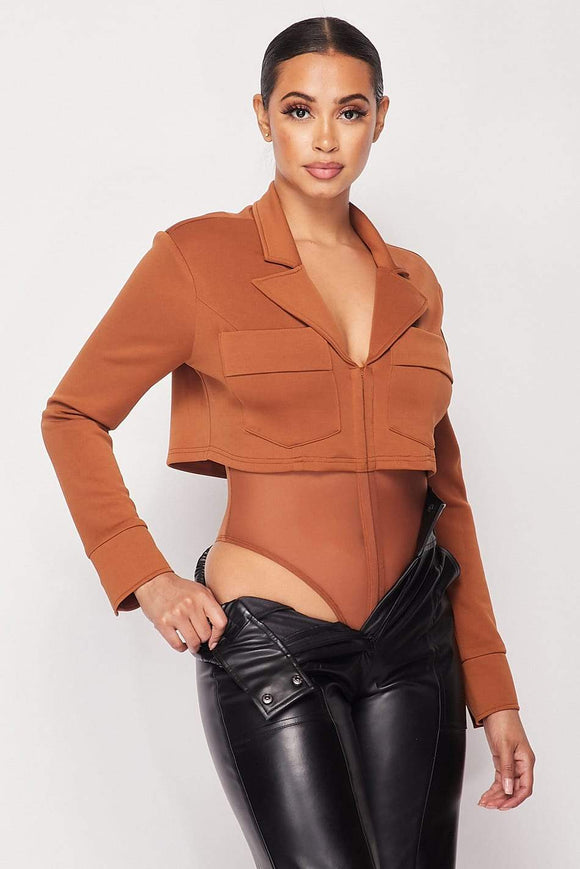 Deep-v Cropped Power Shoulder Blazer Bodysuit - APPLES PEACHES PEARS