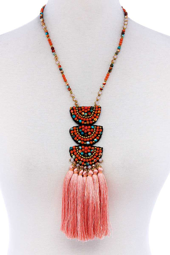 Designer Multi Tassel And Beaded Necklace - APPLES PEACHES PEARS