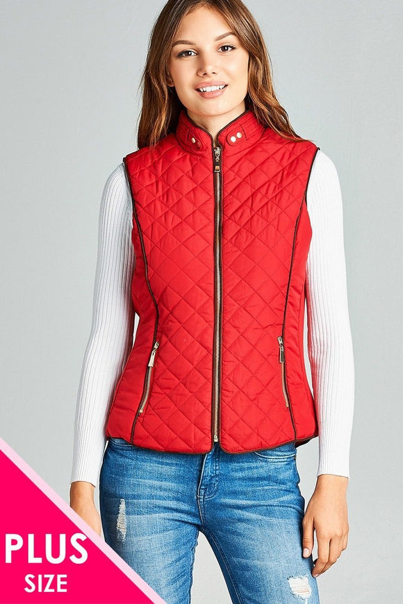 Faux Shearling Lined Quilted Padding Vest - APPLES PEACHES PEARS
