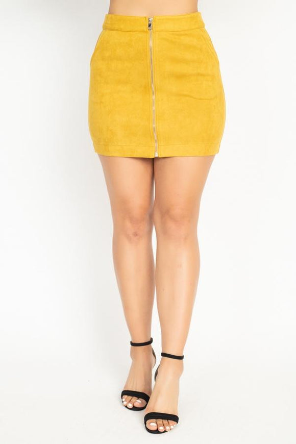 Faux Suede Front Zip Skirt - APPLES PEACHES PEARS