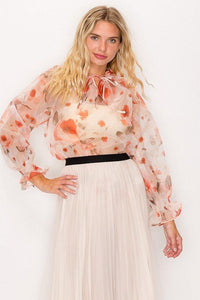 Floral Print Ruffled Organza Top - APPLES PEACHES PEARS