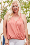 Front Surplice Pleats Back Shirring Solid Cami Top - APPLES PEACHES PEARS